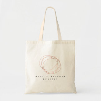 Designer Scribble Logo in Rose Gold Personalized Tote Bag