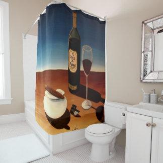 "Designer Shower Curtain ""Wine & Cigars"""