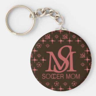 Designer Soccer Mom (brown/pink) Basic Round Button Key Ring