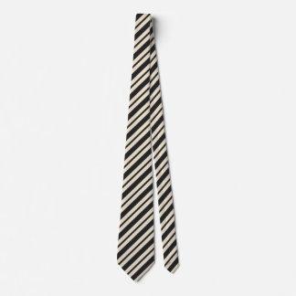 Designer Striped Tie Black Ivory Color Pattern