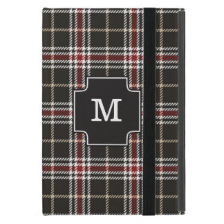 Designer Tartan Plaid Trendy Tan White Red Black Case For iPad Mini