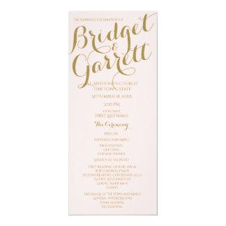 Designer Text Wedding Program Gold 10 Cm X 24 Cm Invitation Card