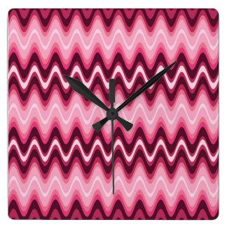 Designer Time Waves Pink Wall Clocks
