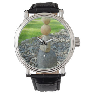 Designer watch with stacked rocks