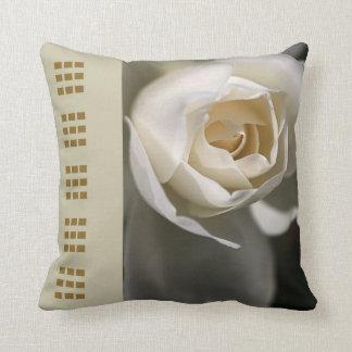 Designer White Rose Pillow