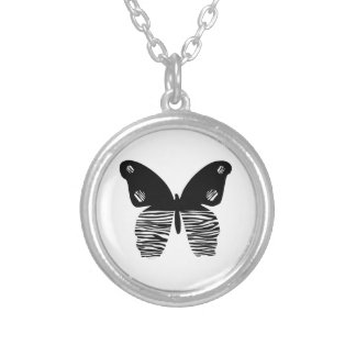 Designer Zebra Stripe Butterfly Necklace