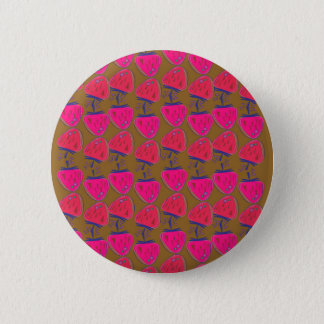 Designers button / Strawberries pink on chocolate