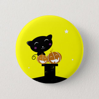 Designers button with Cat : black, yellow
