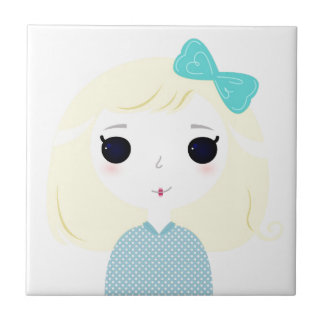 Designers cute blond Manga Small Square Tile