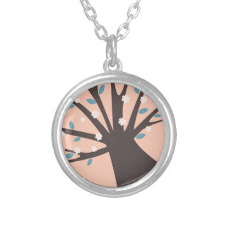 Designers jevelry : with hand-drawn Tree Silver Plated Necklace