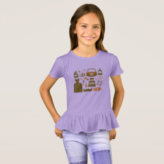 Designers kids tshirt with Icons  /   lavender