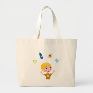 Designers little BIO School Boy with Items Large Tote Bag