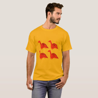 Designers men t-shirt with little Dinos RED