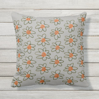 Designers pillow : grey with Flowers