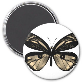 Designers plastic button : butterfly 7.5 cm round magnet
