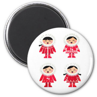 Designers plastic Button with Eskimos 6 Cm Round Magnet