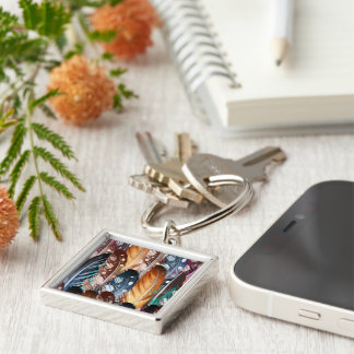 Designers silver Keychaine with Feathers Silver-Colored Square Key Ring