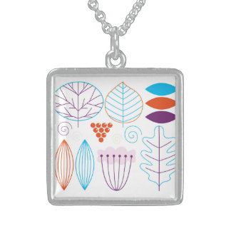 Designers silver necklace : Natural theme