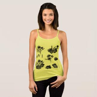 Designers summer Tshirt yellow with Folk flowers