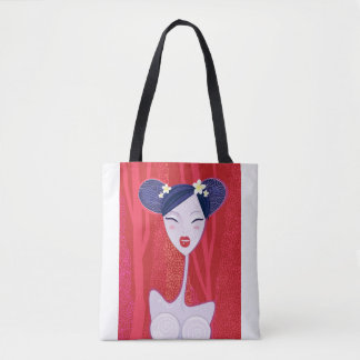 Designers tote bag with Geisha / Red