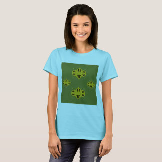 Designers tshirt blue with Ornaments green