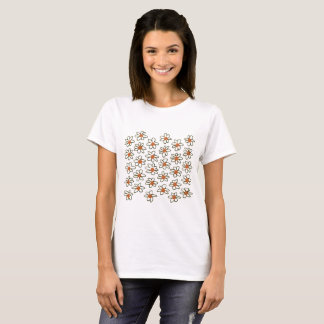 Designers tshirt with hand-drawn Flowers