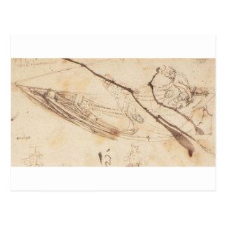 Designs for a Boat by Leonardo Da Vinci Postcard