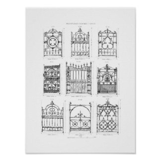 Designs for cast-iron gates, from 'Macfarlane's Ca Posters