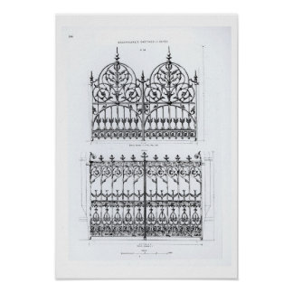 Designs for cast-iron railings, from 'Macfarlane's Posters