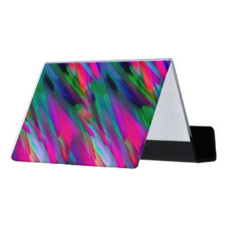 Desk Business Card Colorful digital art splashing Desk Business Card Holder