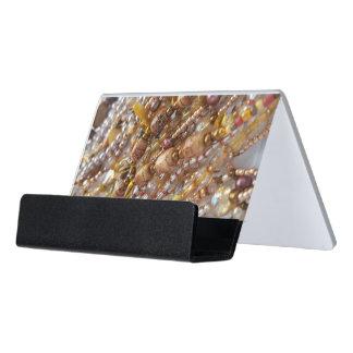 Desk Business Card Holder- Earth Tones Bead Print Desk Business Card Holder