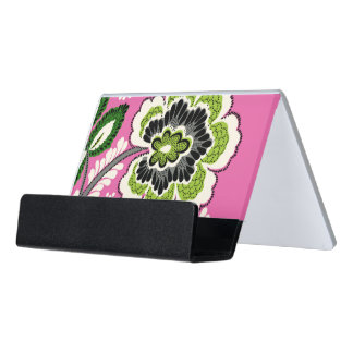 Desk Business Card Holder - Pink Green Flowers