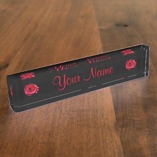 Desk Nameplate - HAMbyWhiteGlove - Black w/Roses