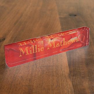 Desk Nameplate - HAMbyWhiteGlove -Red Tulip Design