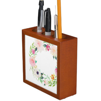 Desk Organiser, Watercolor Flower Wreath Desk Organiser