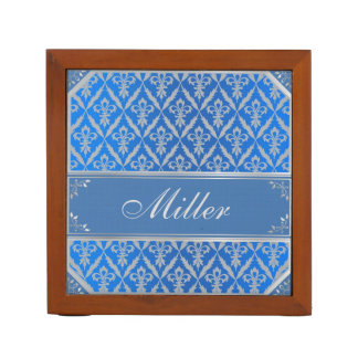Desk Organizer--Fleur de Lis -Light Blue & Silver Desk Organiser