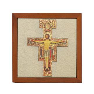 Desk Organizer--Franciscan Cross Desk Organiser