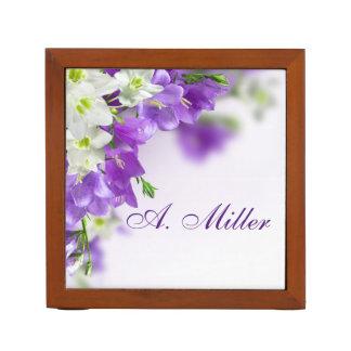 Desk Organizer--Purple Flowers-Vertical Desk Organiser