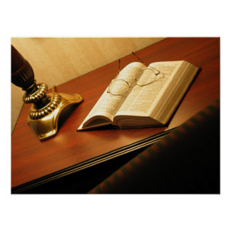 Desk with a Bible Poster