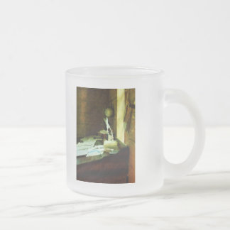 Desk With Quill and Papers Frosted Glass Mug
