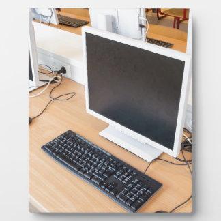 Desktop computer in computer class on school display plaques