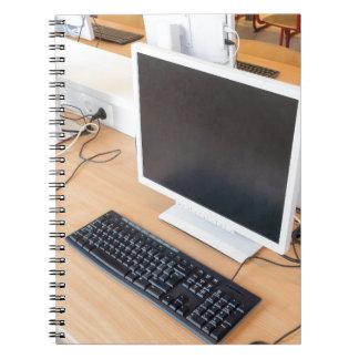 Desktop computer in computer class on school notebook