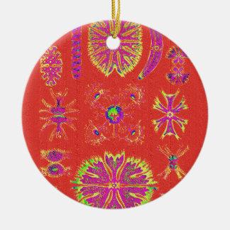 Desmidiea on Burnt Orange Ceramic Ornament