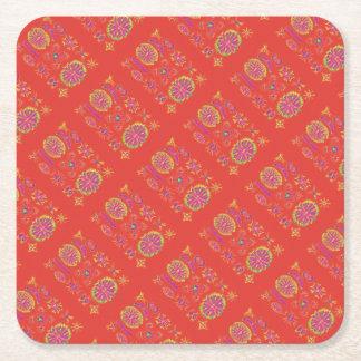 Desmidiea on Burnt Orange Square Paper Coaster