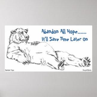 Despair Bear Poster - Abandon All Hope
