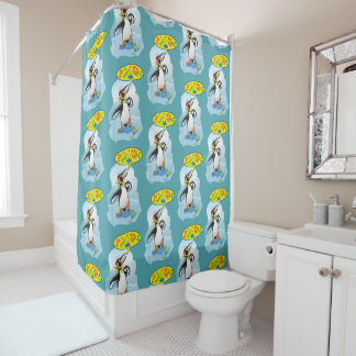 Desperate king penguin saying bad words shower curtain