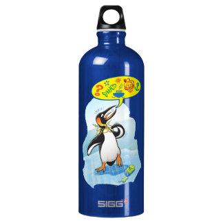 Desperate king penguin saying bad words water bottle