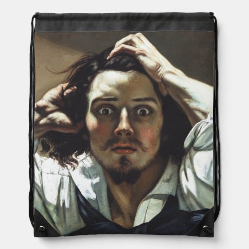 Desperate Man by Gustave Courbet Drawstring Bag