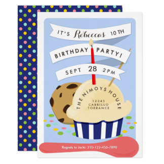 Dessert Kids Ice Cream  Birthday Party Card