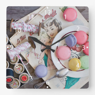 Dessert Macaron Cookies Dessert Dish Thread Square Wall Clock